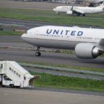 ユナイテッド航空機(前部分)とJAL機