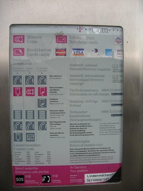 ドイツの公衆電話(JCBあり)