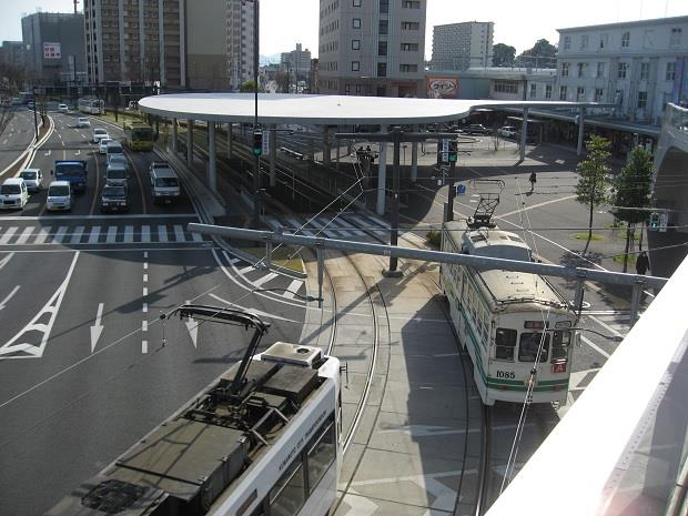 熊本駅前停留所(上から)