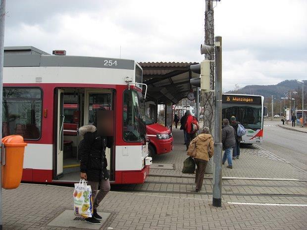 ドイツのフライブルクにある路面電車の停留所